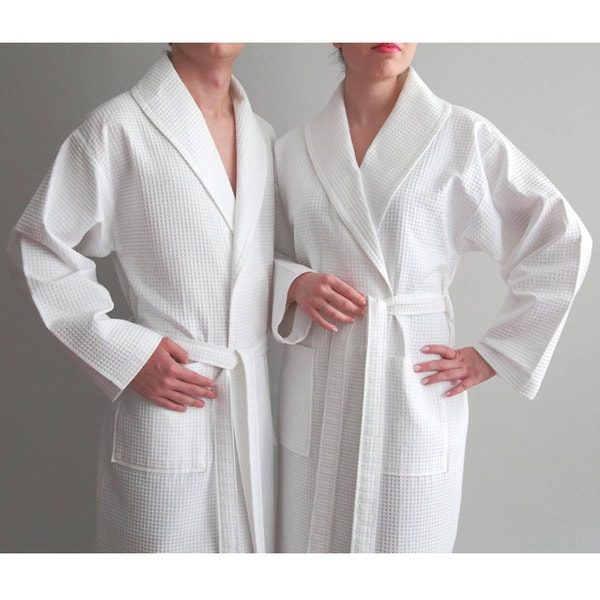 Authentic Hotel and Spa Turkish Cotton Unisex Waffle Weave Bathrobe ... fa74a2c4c