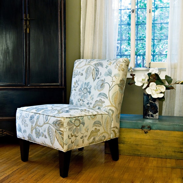 Angelo Home Davis Vintage Floral Ocean Blue Armless Chair