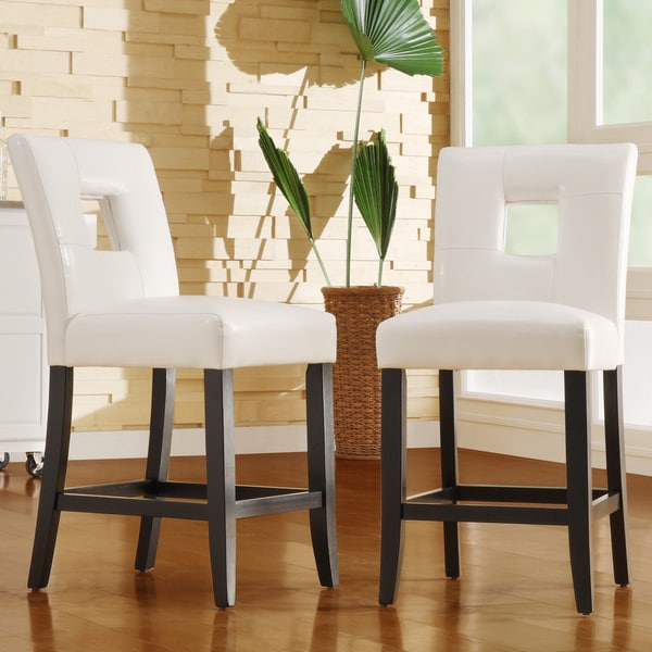 Counter Stools Overstock: TRIBECCA HOME Mendoza White Keyhole Counter Height Stool