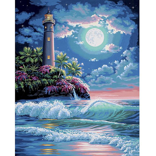 Paint By Number Lighthouse In The Moonlight Kit