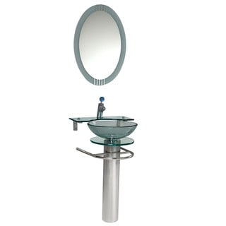 Kokols Bathroom Vanity Pedestal And Frosted Glass Vessel
