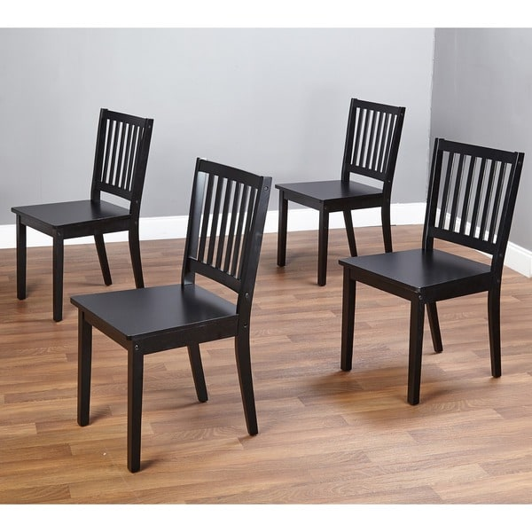Black Dinning Room Chairs: Simple Living Slat Black Rubberwood Dining Chairs (Set Of