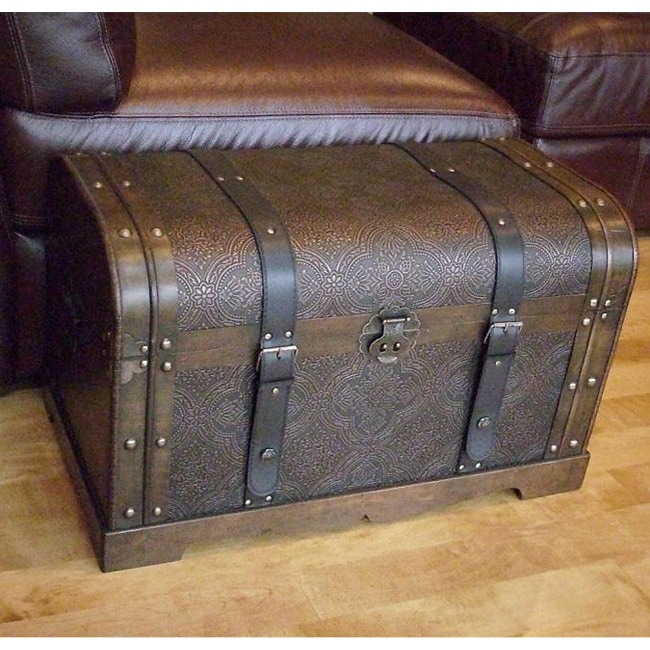 Decorative Trunk Boxes: Antique Victorian Wood Trunk Treasure Chest