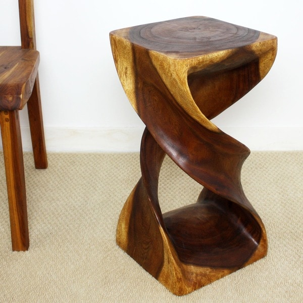 Hand Carved Wooden Double Twist Stool Thailand