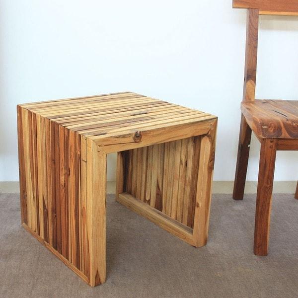 Thai Teak Coffee Table: Hand-carved Teak Wood End Table (Thailand)
