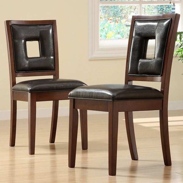 Inspire Q Andorra Velvet And Faux Alligator Leather Dining: TRIBECCA HOME Dijon Dark Brown Faux Leather Side Chairs