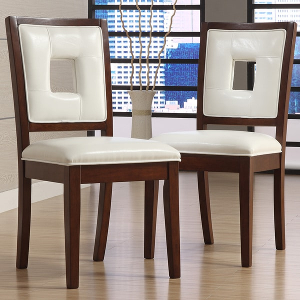 TRIBECCA HOME Dijon White Faux Leather Side Chairs (Set Of