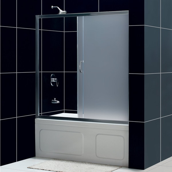 Dreamline Infinity 60 Inch Frosted Glass Tub Sliding