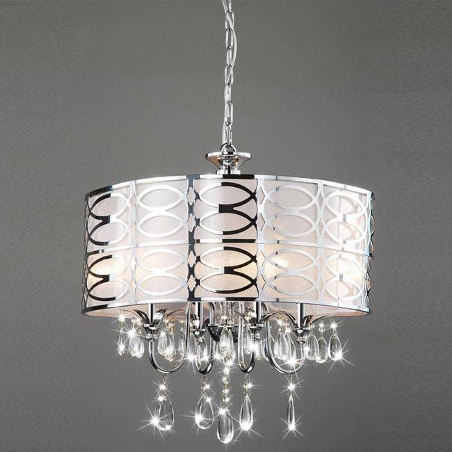 Overstock Lighting: Indoor 4-light Chrome/ Crystal Chandelier
