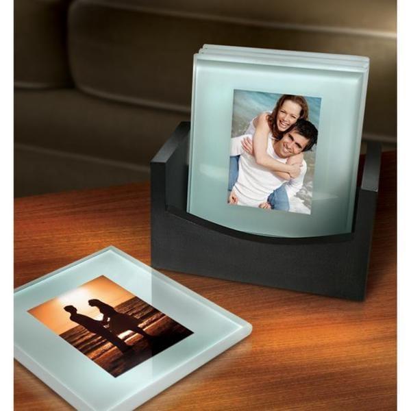 Sarah Peyton Glass Photo Coasters With Stand 13077504