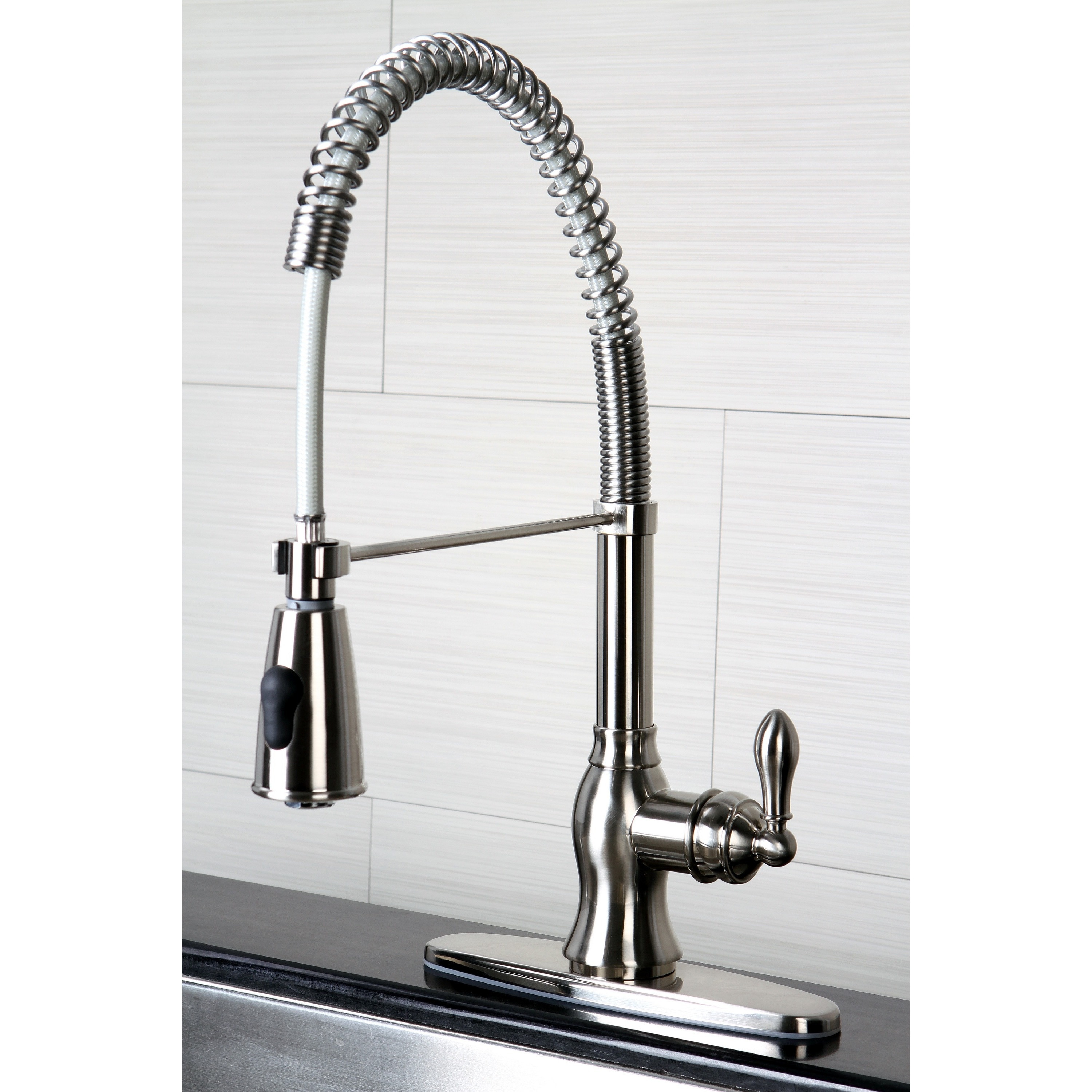 Contemporary Kitchen Faucets: American Classic Modern Satin Nickel Spiral Pull-down