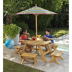Octagon Table Amp 4 Benches With Multi Striped Umbrella