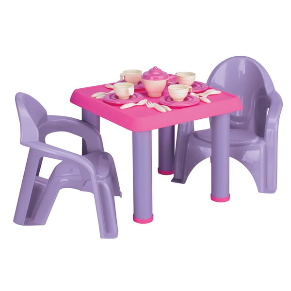 american plastic toys table chairs and 28pc tea party set