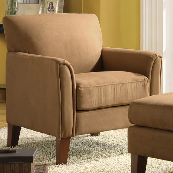 Tribecca Home Tufted Button Back Peat Microfiber Side: TRIBECCA HOME Uptown Peat Microfiber Modern Arm Accent