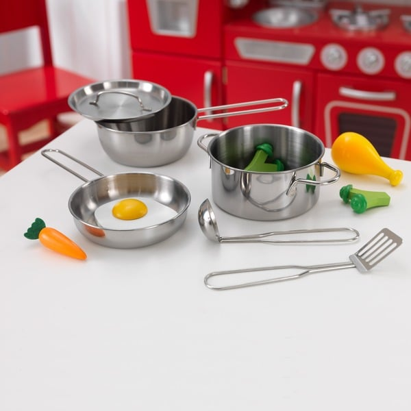 Kidkraft Metal Pots Pans And Play Food Set For Little