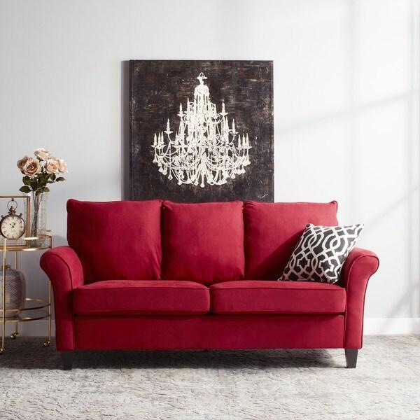 Handy Living Provant SoFast Flared Arm Crimson Red Microfiber Sofa