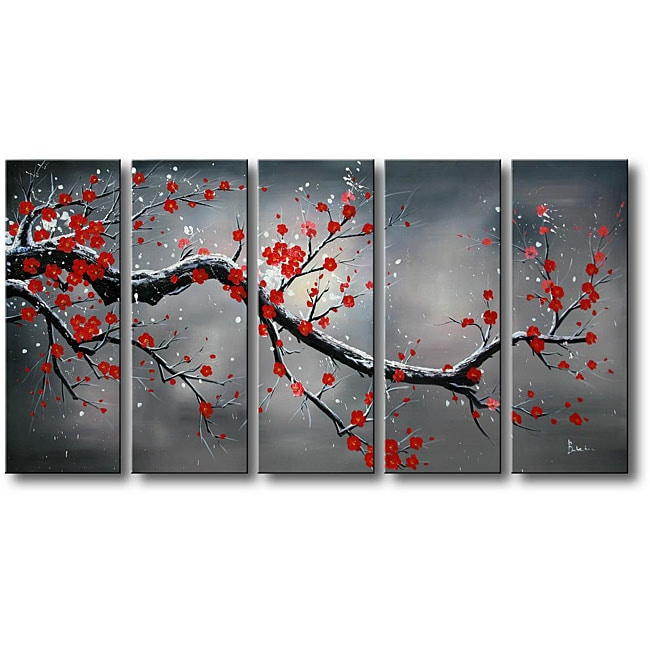 39 winter plum 39 5 piece oil hand painted canvas art set overstock shopping top rated otis. Black Bedroom Furniture Sets. Home Design Ideas