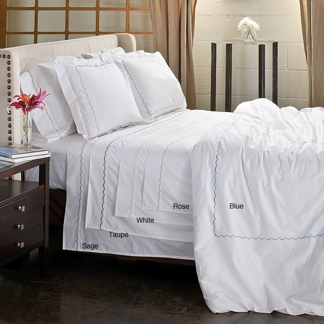 Scallop Embroidery 300 Thread Count Cotton Percale 3 Piece