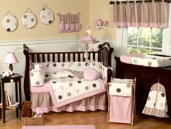 Pink Polka Dot 9 Piece Crib Bedding Set 13109465