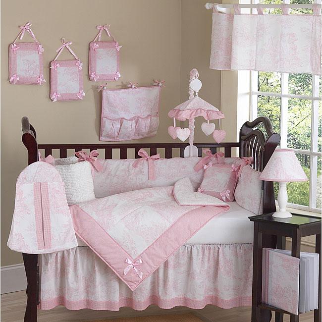 Pink Toile 9 Piece Crib Bedding Set 13109472 Overstock