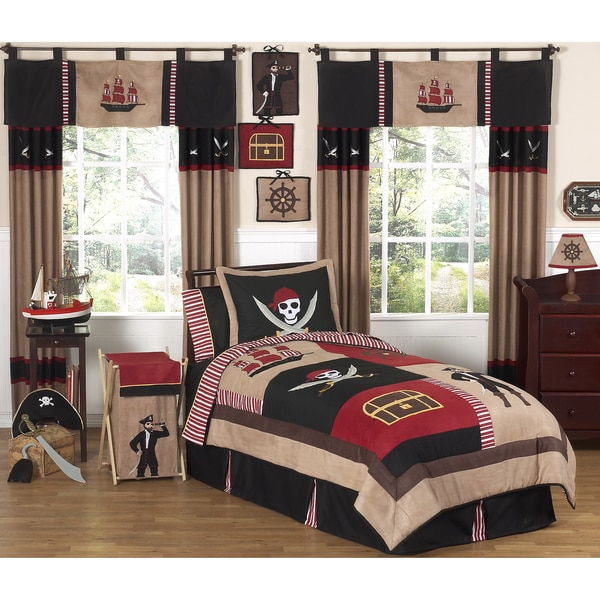 Boys Pirate Bedroom: Sweet JoJo Designs Pirate 4-piece Twin-size Comforter Set