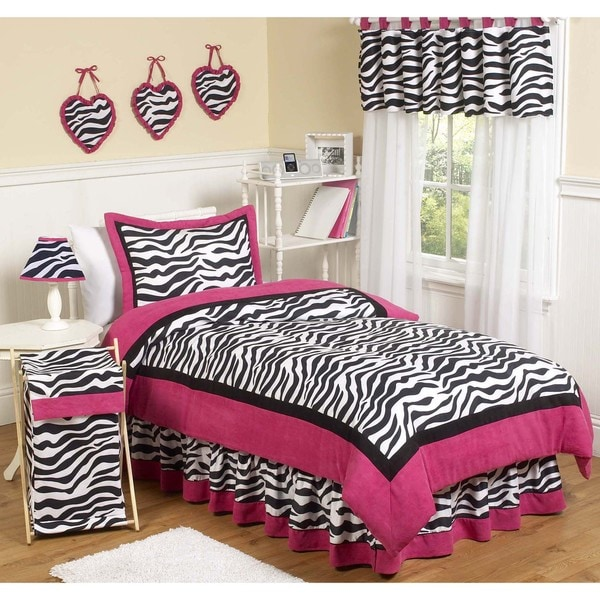 Sweet Jojo Designs Pink Black White Zebra Print 3 Piece