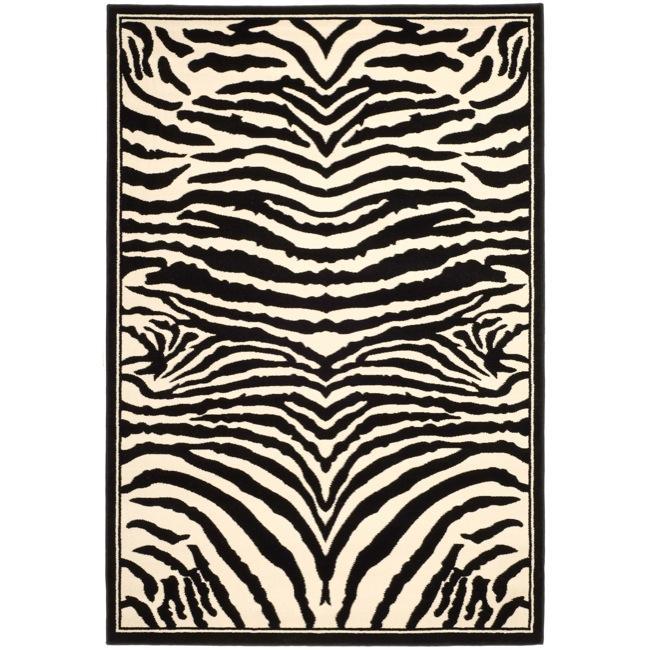 Zebra Rug Large: Safavieh Lyndhurst Collection Zebra Black/ White Rug (9' X