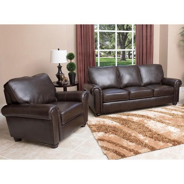 Ashley Furniture Delmar De: ABBYSON LIVING London Premium Top-grain Leather Sofa And