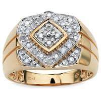 Men's 1/4 TCW Round Diamond Geometric Ring in 10k Gold