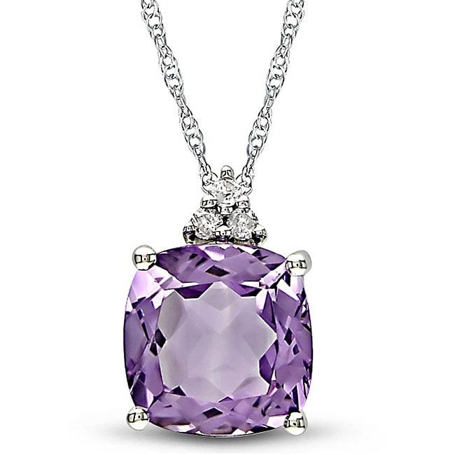 14k White Gold Diamond Amethyst Pendant - Overstock ...
