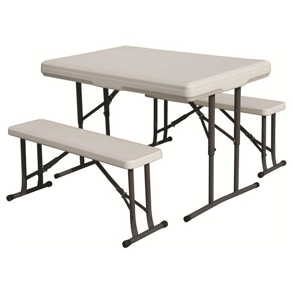 Stansport White Bench Seat Folding Table 13140595
