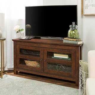 Superbe Clay Alder Home Sturgeon 44 Inch Brown Wood Corner TV Stand