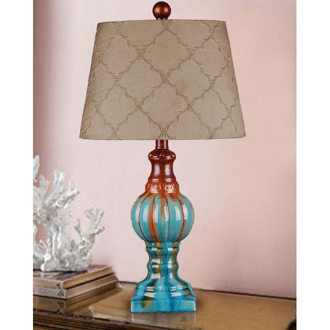 Hand Glazed Teal Ceramic Table Lamp 12966770 Overstock