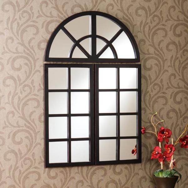 Harmony Distressed Black Windowpane Mirror 13197394