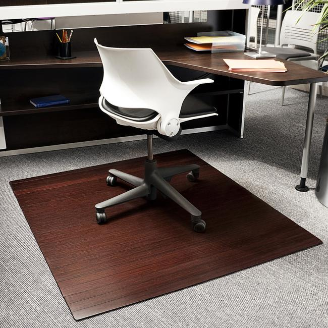 eco bamboo standard rectangular cherry chair mat 52 x 48 13206909 shopping. Black Bedroom Furniture Sets. Home Design Ideas