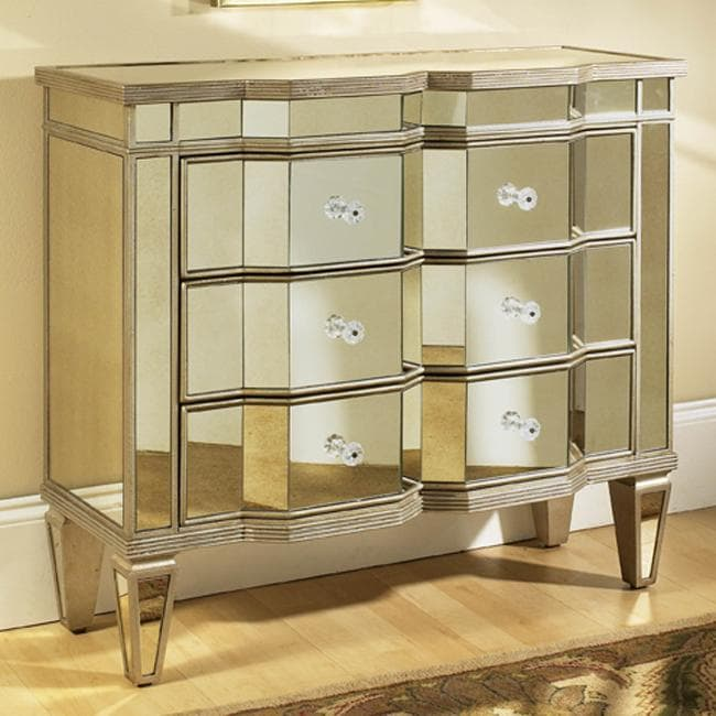 Mirrored Three Drawer Accent Chest 13247657 Overstock Com Shopping Great Deals