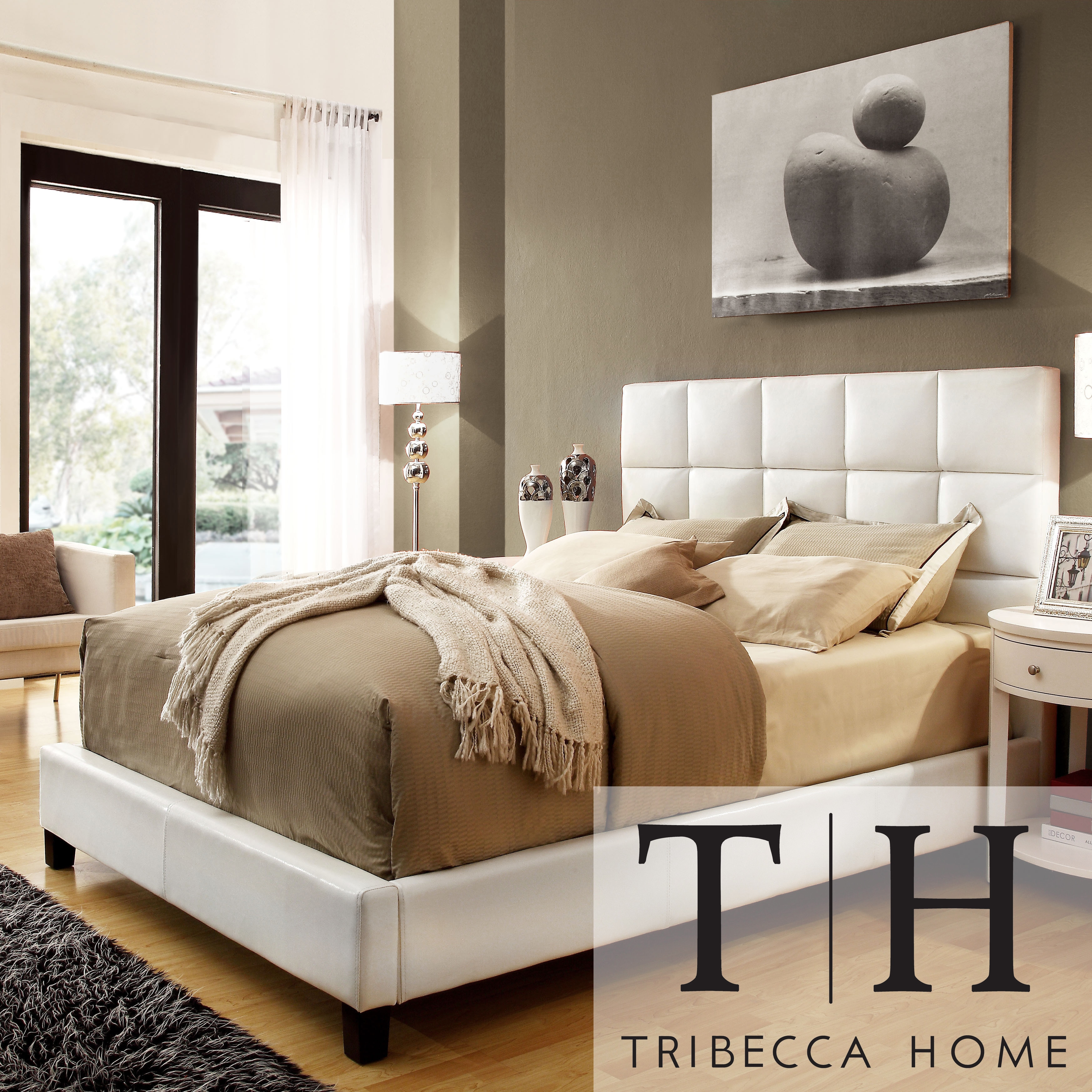 NEW! Sarajevo Queen-Sized White Faux Leather Bed Bedroom