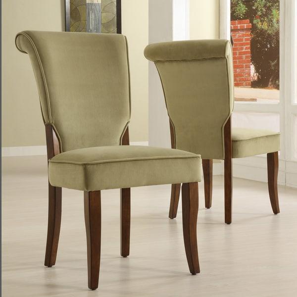 Inspire Q Andorra Olive Velvet Upholstered Dining Chair