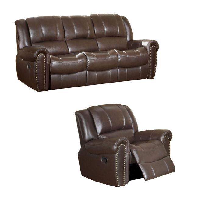 Chelsea Espresso Italian Leather Reclining Sofa And