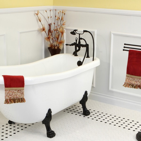 Deck Mount Clawfoot Oil Rubbed Bronze Tub Faucet With Hand