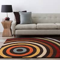 Hand-tufted Black Contemporary Multi Colored Circles Mayflower Wool Geometric Area Rug - 5' x 8'