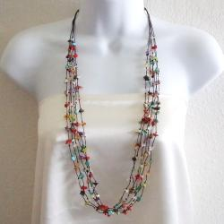 Cotton Multicolor Gemstone Layered Long Necklace Thailand