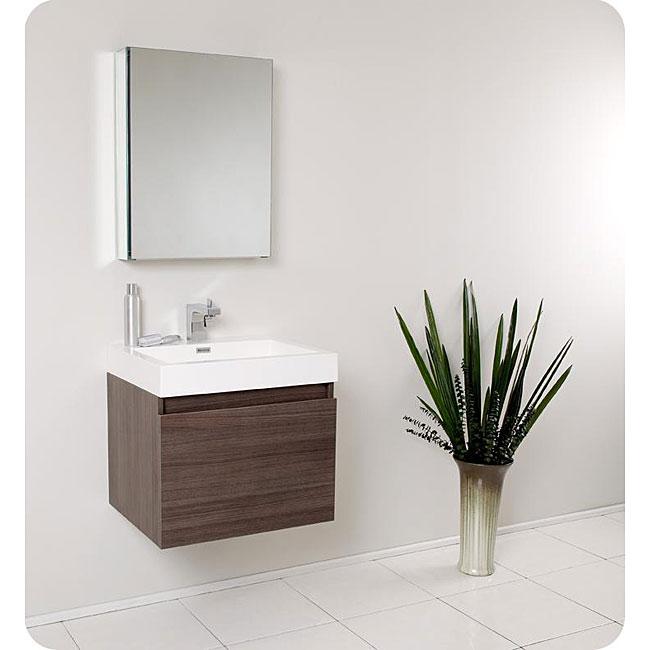fresca nano grey oak bathroom vanity with medicine cabinet