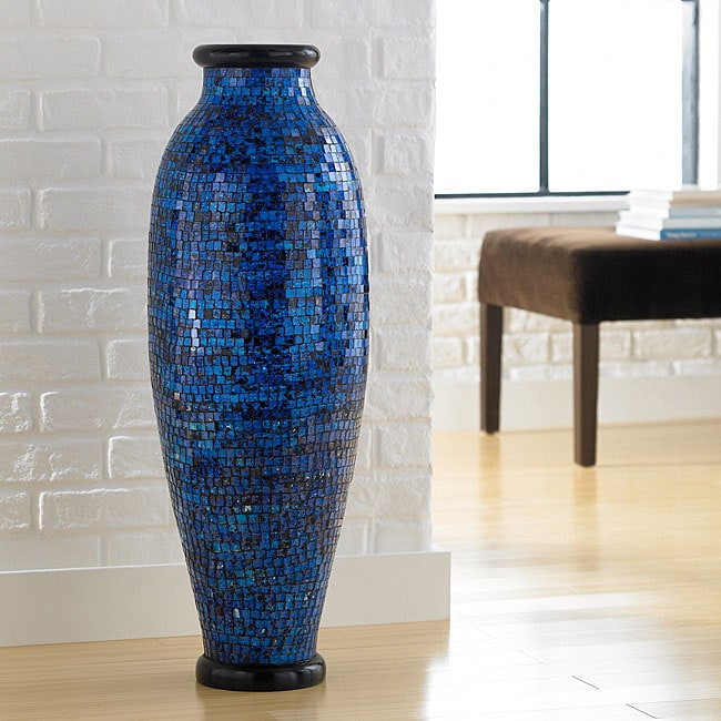 Ocean Blue Mosaic Floor Vase Indonesia 13308142