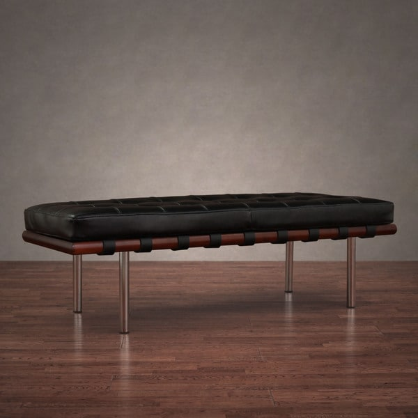 Andalucia Black Leather Bench 13316679 Overstock Com