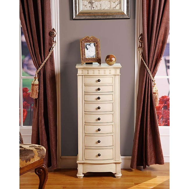 Muscatto Antique Beige 8 Drawer Charging Jewelry Armoire
