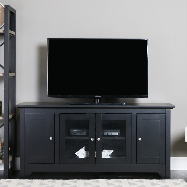 Black Wood 52 Inch Tv Stand 13323295 Overstock Com