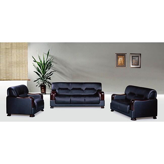 3 Piece Leather Sofa: Pearland 3-piece Black Leather Sofa Set