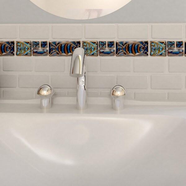 Somertile 2x8 In Handmade Cobble Aquatica Cobalto Border