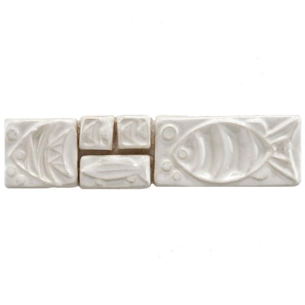 Somertile 2x8 In Handmade Cobble Aquatica Bianco Border